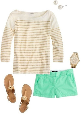 a flat lay with a gold tee, turquoise shorts, gold sandals, and a gold watch