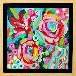 Flower painting by artist Merrill Weber original acrylic on canvas 6 x 6  framed Celebration 110