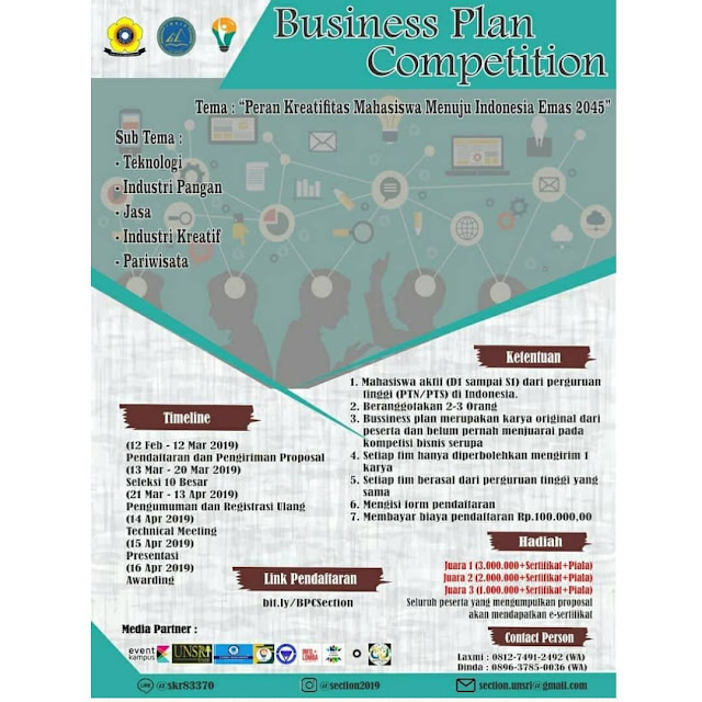 Lomba Business Plan Sriwijaya Entrepreneur 2019 Mahasiswa