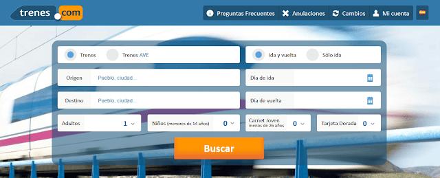 Buscar billetes de tren AVE en Trenes.com