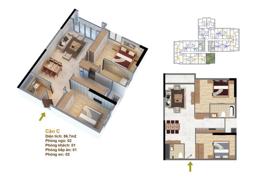 Mặt bằng căn hộ số 10 ruby 3- Goldmark City 136 Hồ Tùng Mậu