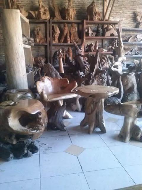 12 Kursi dan meja akar kayu jati unik antik asli dari jepara