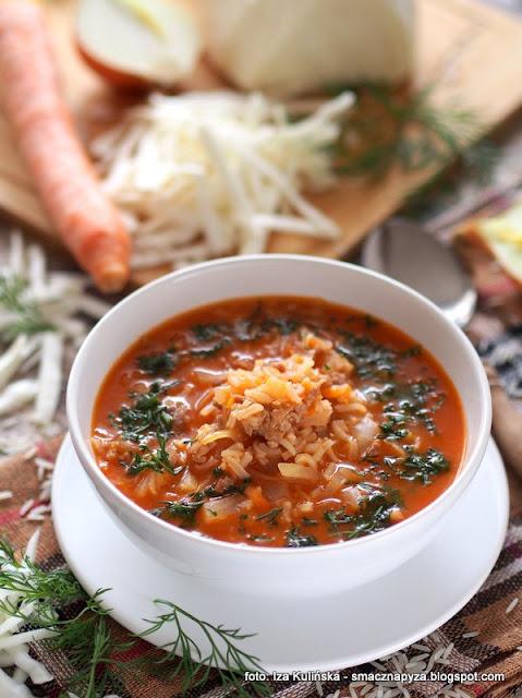 zupa gołąbkowa , kapuśniak z mięsem mielonym i ryżem , danie jednogarnkowe , obiad , kapuśniaczek , zupa z wkładką , kuchnia polska , najlepsze przepisy , kapusta , wieprzowina , ryż , pomidory ,  zupa leniwej pani domu , zupa mięsno warzywna