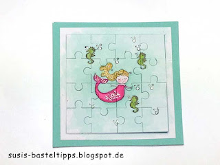 Meerjungfrau Puzzle mit Thinlit Puzzleteile von Stampin' Up! Demonstratorin in Coburg aquamarin