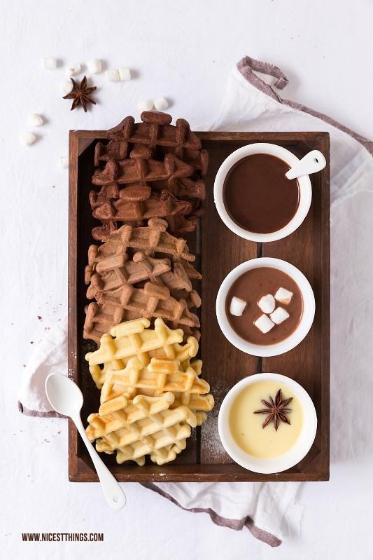 Ombre Waffeln Schokoladenwaffeln mit drei Sorten Kakao