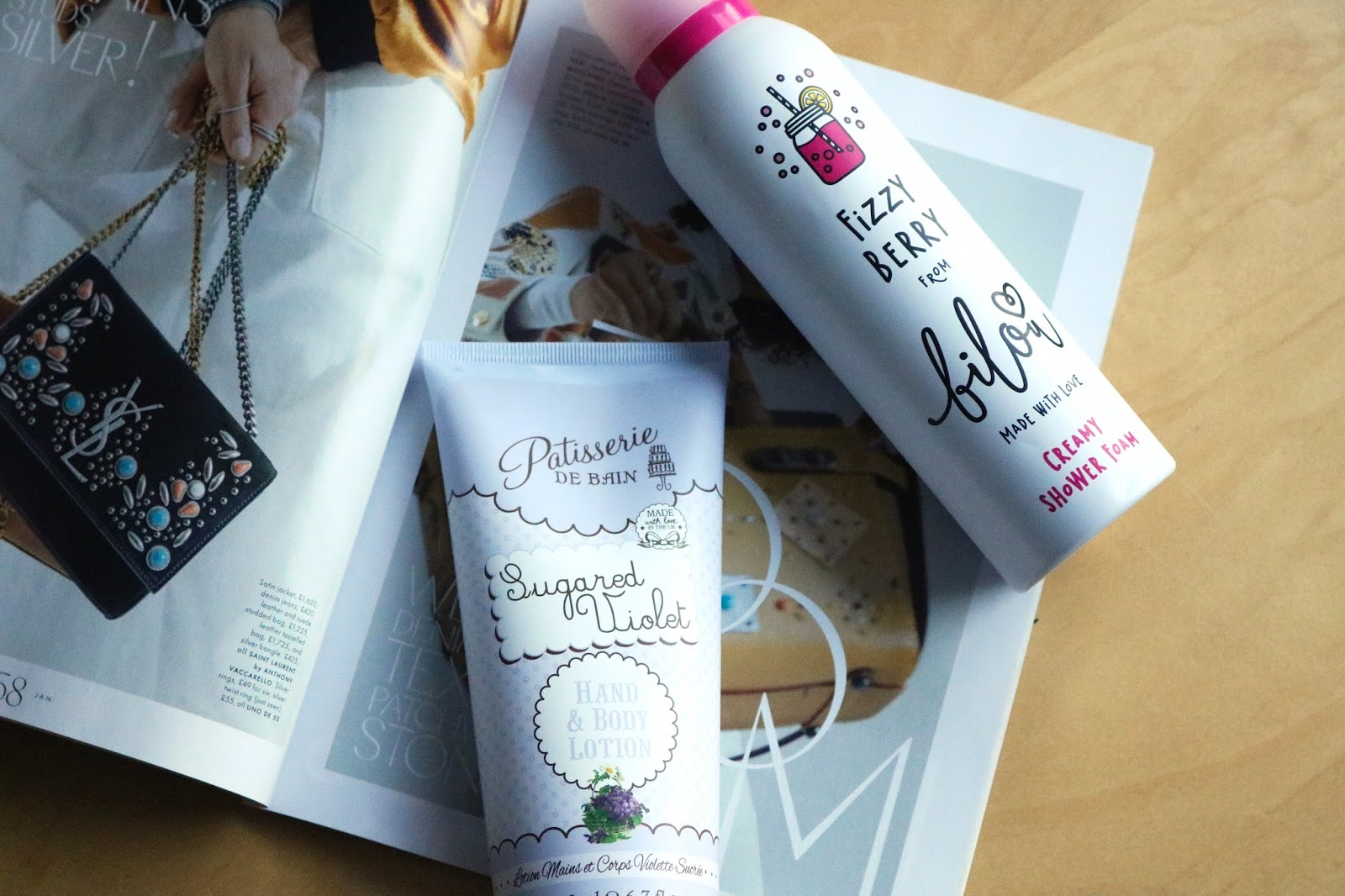 bilou fizzy berry creamy shower foam and patisserie de bain sugared violets hand and body lotion