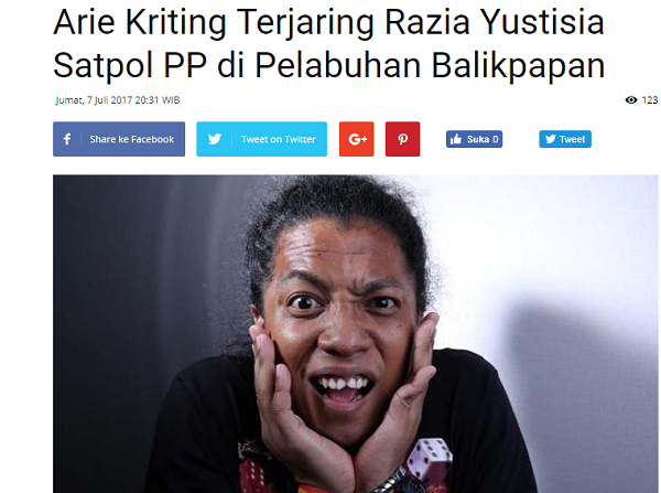 NAHLOH! Komika Arie Kriting yang Pernah Hina Habib Rizieq TERTANGKAP Satpol PP di Balikpapan