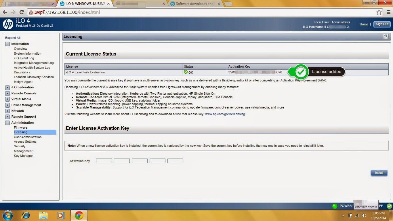 Adding License key in HP iLO - Techridez