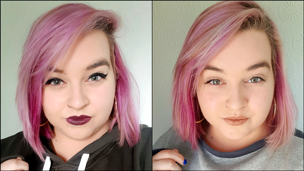 Two selfies. I have pink hair, winged eyeliner, gold hoops and a khaki hoodie. On the left I am wearing a dark berry lipstick. On the right I am wearing a nude lipstick