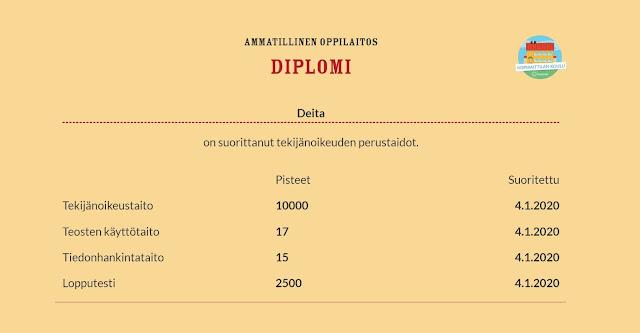Tässä on kuva kopiraittilassa suoritetusta diplomista.