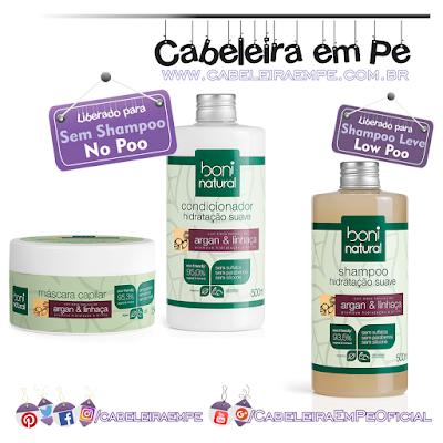 Linha Argan e Linhaça - Boni Natural (Shampoo Low Poo, Condicionador e máscara liberados para No Poo)