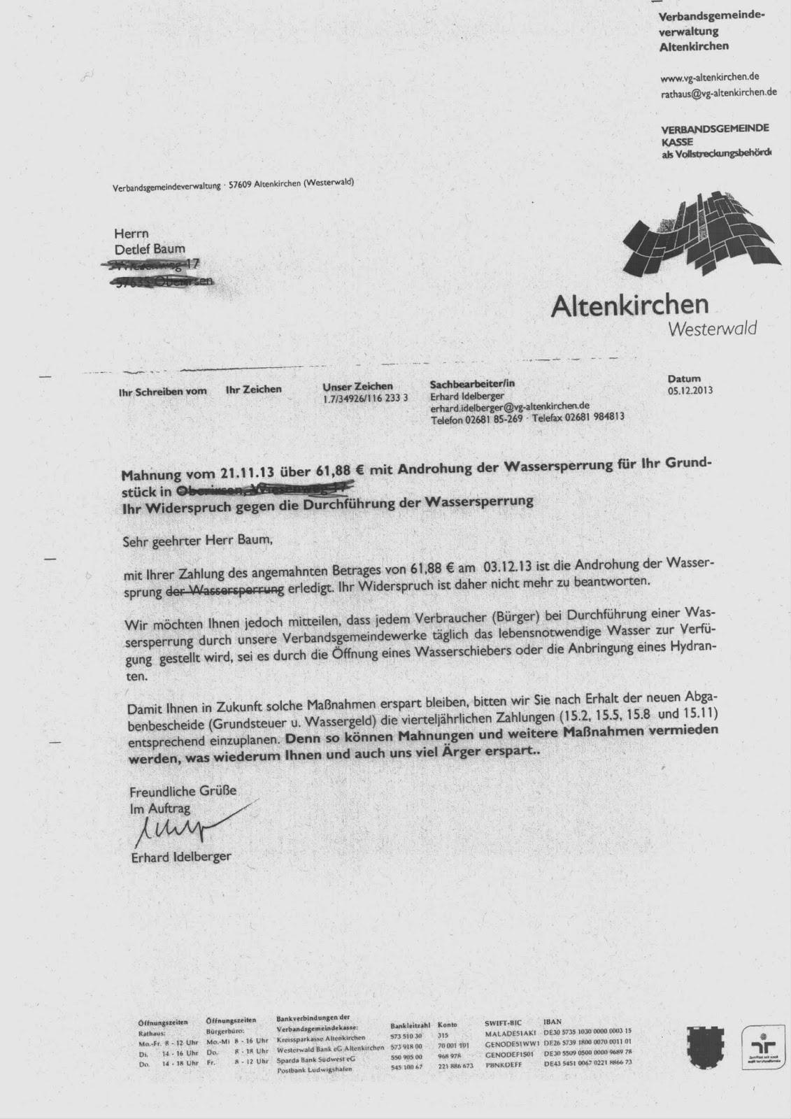 Verbandsgemeinde Verweist Bei Wassersperrung Auf öffnen Des