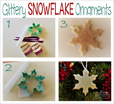 DIY glittery clay snowflake ornament