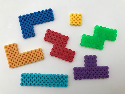 Tetris shapes made from Hama beads