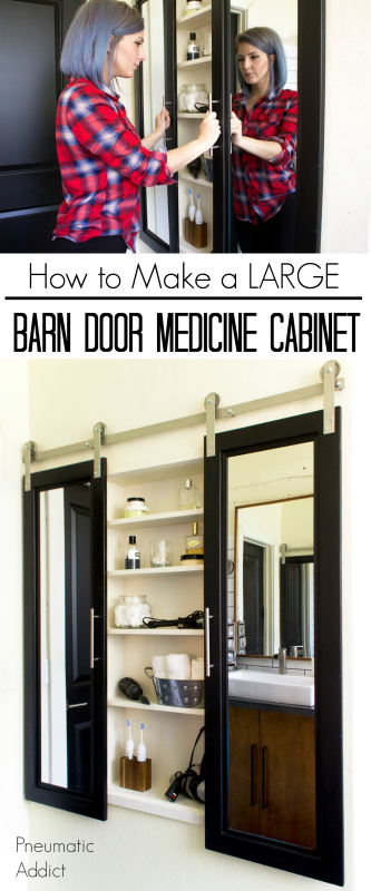 diy how to tutorial modern bathroom medicine cabinet large oversized barndoor barn door