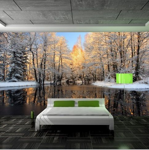 skogtapet vinter fototapet sovrum trädstammar snö