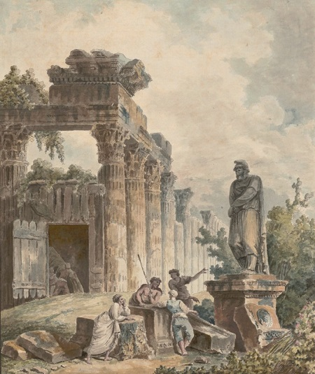 Hubert Robert, Temple Ruin with the Statue of a Captured Barbarian Prince, ca. 1780.