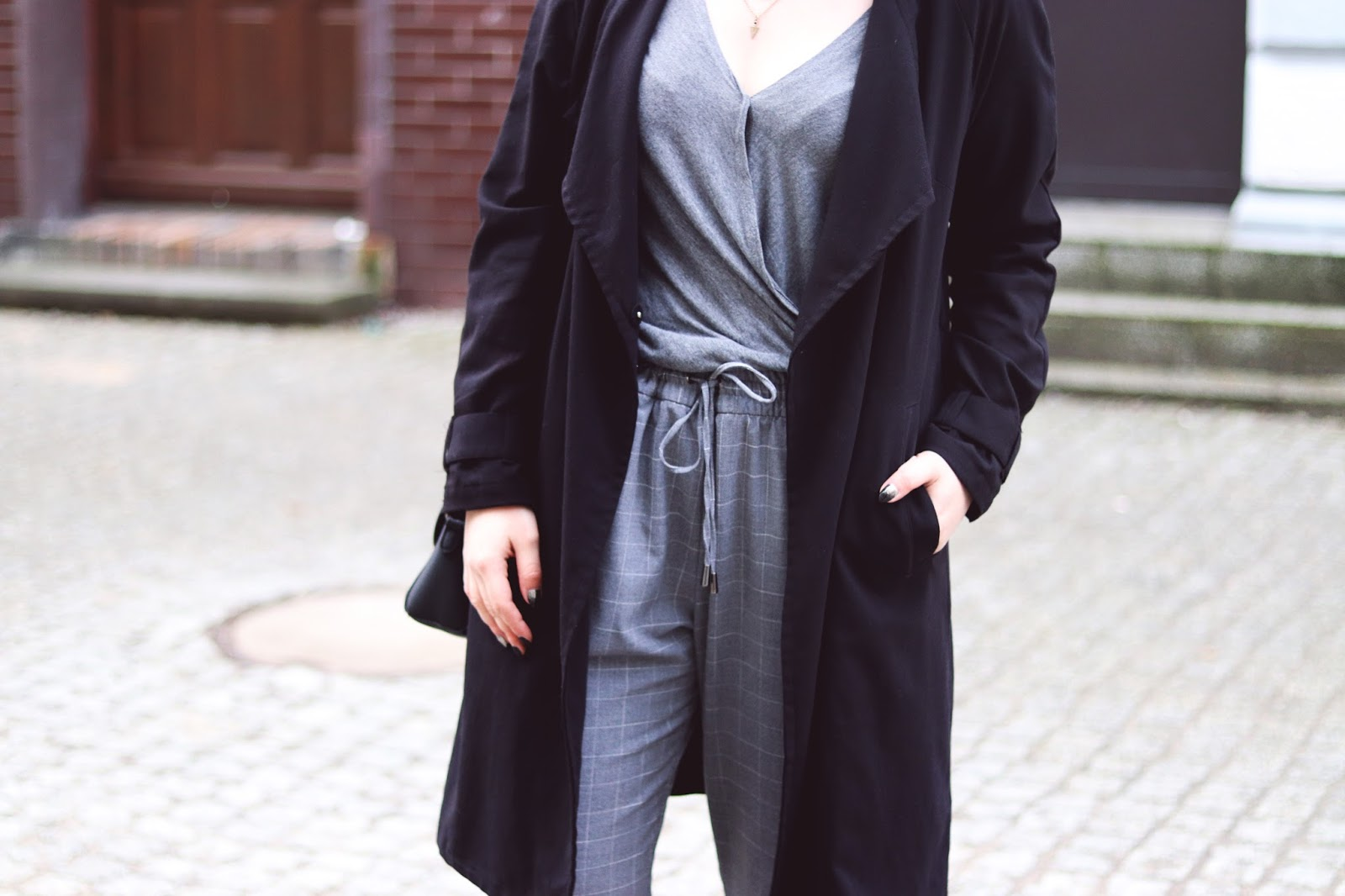 H&M black trench coat