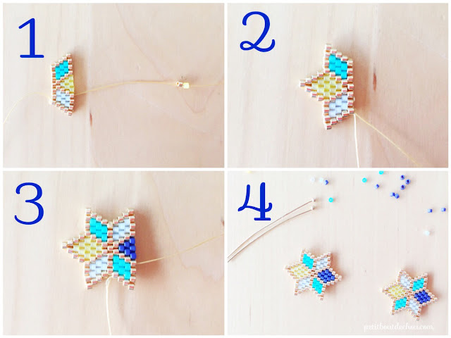 second steps for star earrings with miyuki beads