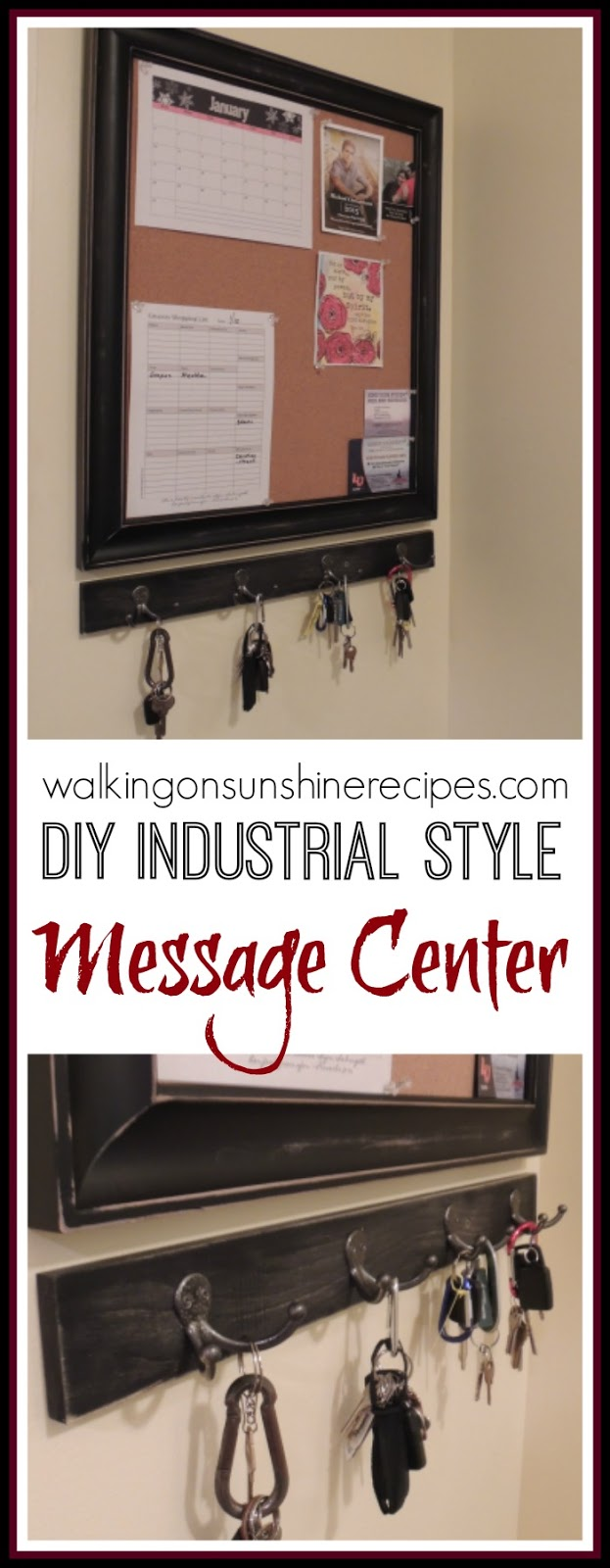 Creat your own DIY Industrial Style Message Center from Walking on Sunshine.