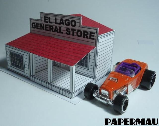 PAPERMAU: El Lago General Store Paper Model In 1/64 Scale