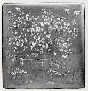 籬菊螺鈿蒔絵硯箱