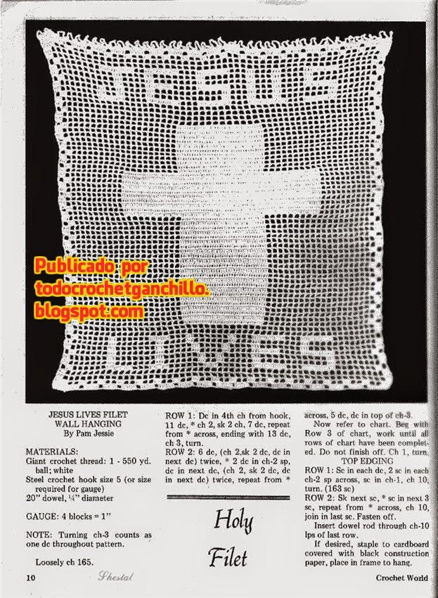 "Patrón de crochet filet ""Jesus lives"""