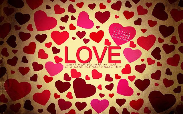 Rode en roze liefdes hartjes en de tekst love