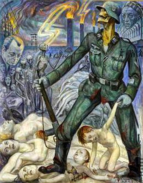 The Massacre of the Innocents, David Olère, Auschwitz, Shoah, Holocaust, Macabre Art, Macabre Paintings, Horror Paintings, Freak Art, Freak Paintings, Horror Picture, Terror Pictures