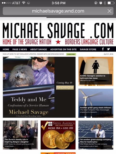 April 21, 2016: Micheal Savage features our work
