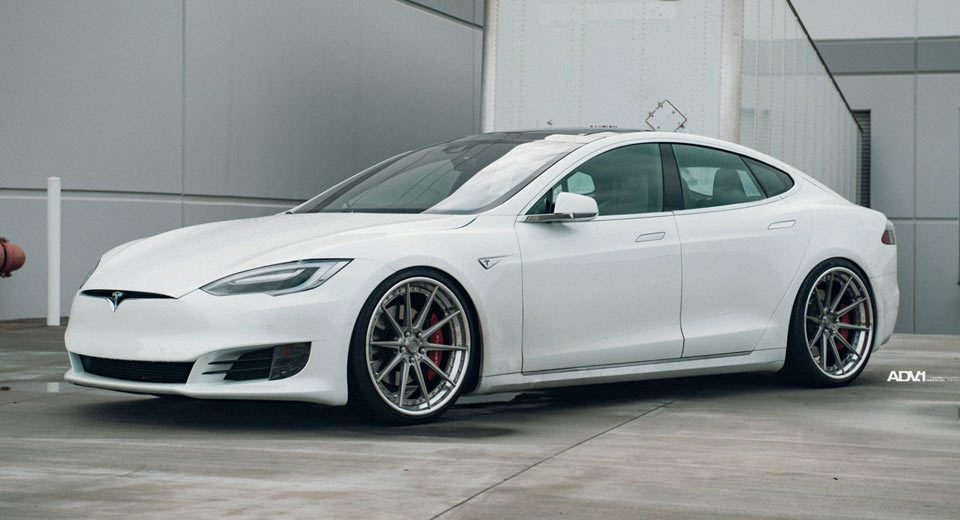 white tesla model s stuns on adv 1 wheels. Black Bedroom Furniture Sets. Home Design Ideas