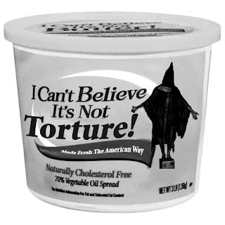 """Mio ritocco di un'immagine satirico-grottesca circolante dopo l'emersione dello scandalo di Abu Ghraib, prigione irachena in cui i detenuti erano sottoposti dall'esercito statunitense a torture e umiliazioni. (Si fa il verso a una marca di margarina diffusa negli Stati Uniti, """"I Can't Believe It's Not Butter."""") Per approfondimenti sul tema Abu Ghraib, cerca """"Scandalo di Abu Ghraib"""" su Wikipedia. Per andare alla pagina dell'immagine originale, clicca sul mio ritocco. Prima, però, clicca su """"Continua a leggere..."""""""