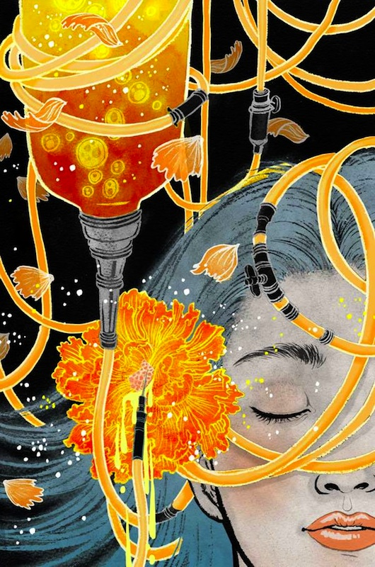 Beauty Belongs To The Flowers a sci fi novella by Matthew Sanborn Smith, published on tor.com, illustration by Yuko Shimizu