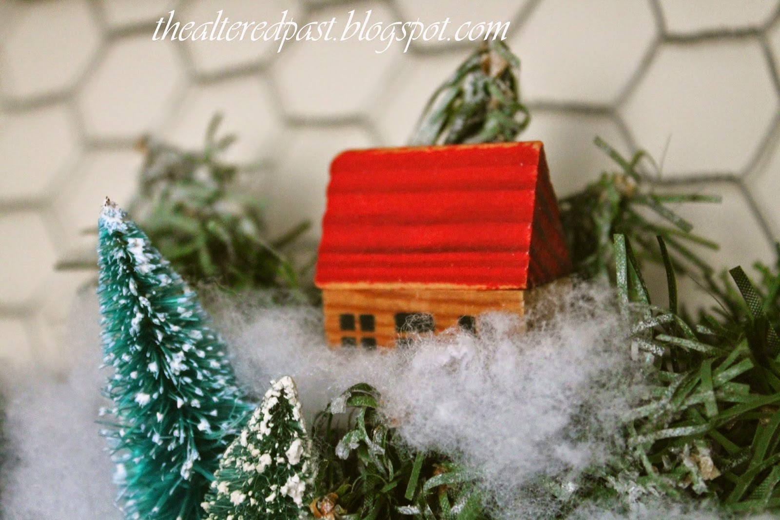 vintage farm village christmas wreath, the altered past blog