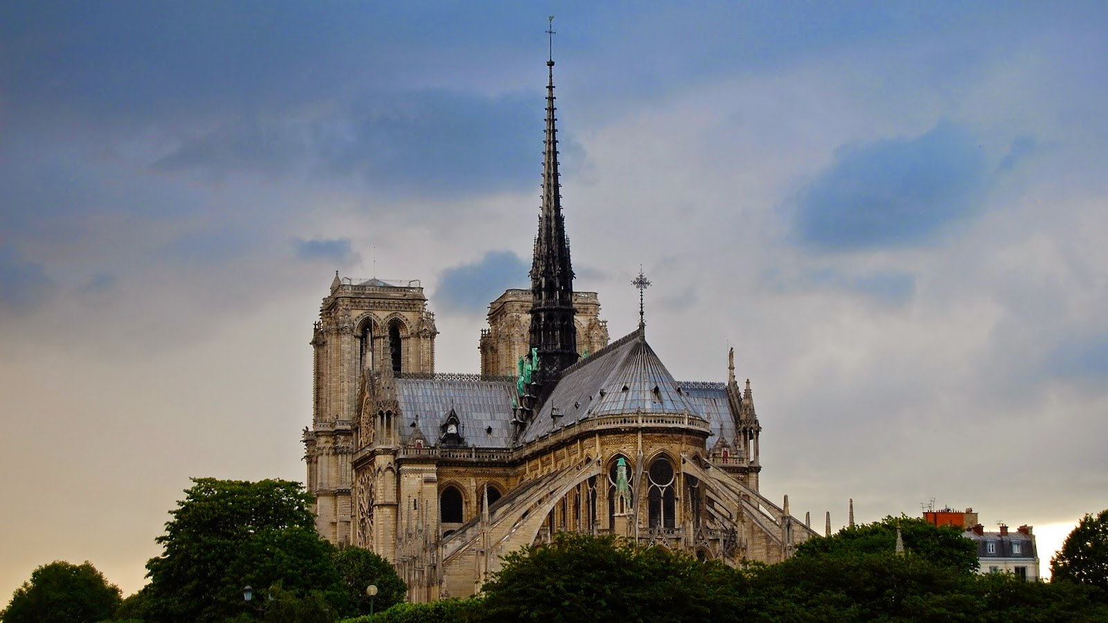 View of Notre Dame cathedral from the Seine; Paris, France