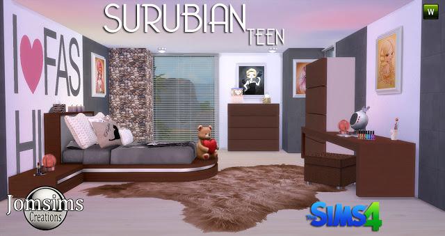 My Sims 4 Blog Suburban Teen Bedroom Set By Jomsims