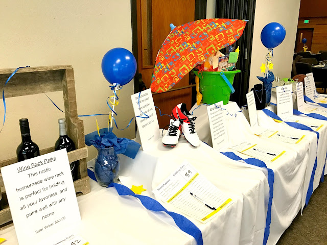 Displaying items at a silent auction.