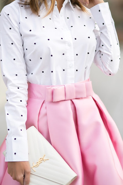 pink maxi skirt and polka dot shirt | lace and locks