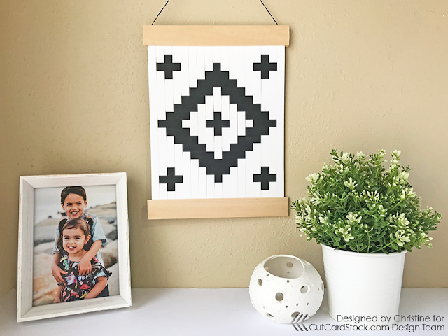 Black and White Modern Paper Weave Hanging