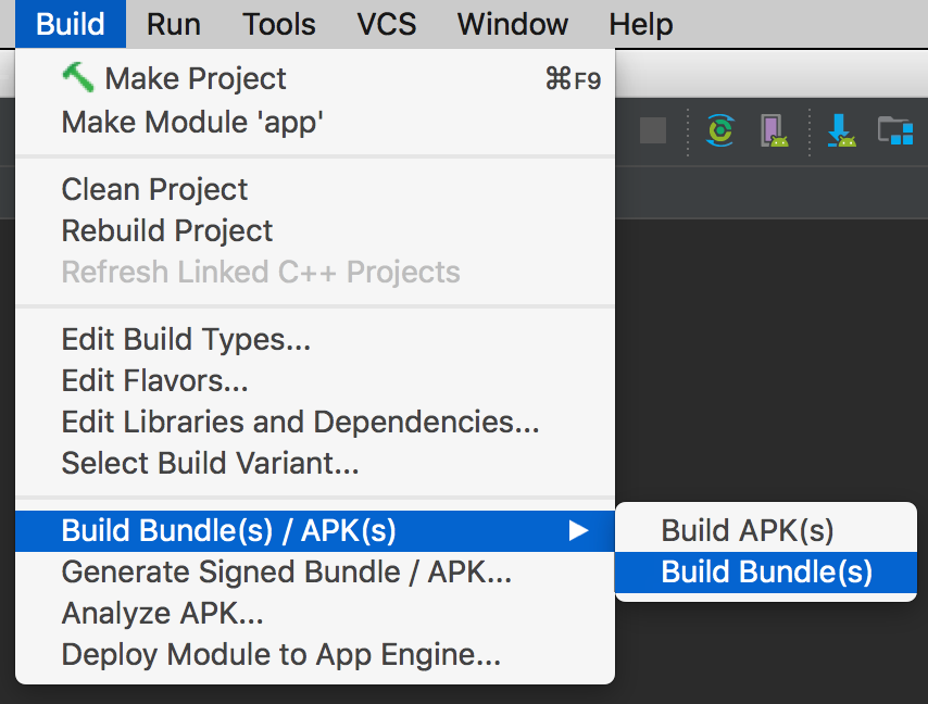 - create app bundle - Android Developers Blog: Android Studio 3.2 Canary