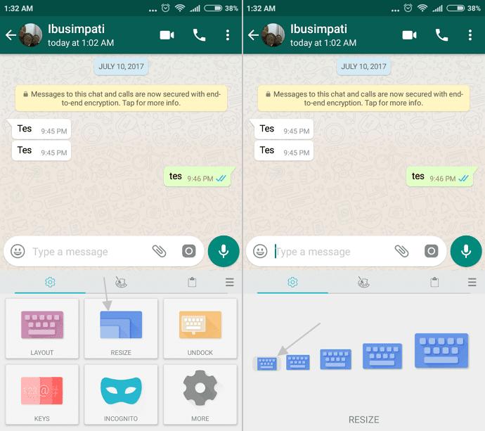 ubah ukuran keyboard android