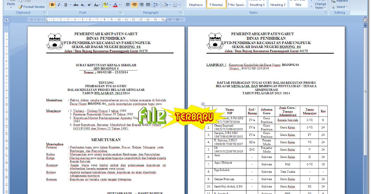 Download Surat Keputusan Kepala Sekolah Tentang Pembagian Tugas Guru Dalam Kegiatan Proses