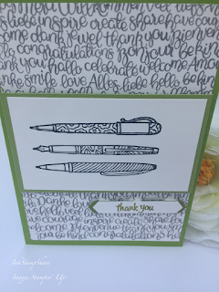 Teacher Thank You Card, Handwritten stamp, Crafting Forever Pens stamp