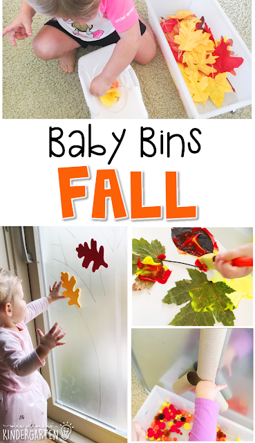 Tons of fall themed activities and ideas. Weekly plan includes themed book, sensory bin, art activities, and more! These Baby Bin plans are perfect for learning with little ones between 12-24 months old.