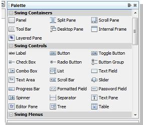 Paleta de componentes java en netbeans ide