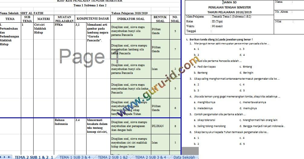 Kisi Kisi Dan Soal Soal Ph Pts Pas Kelas 3 Tahun 2019 2020 Info Pendidikan Terbaru
