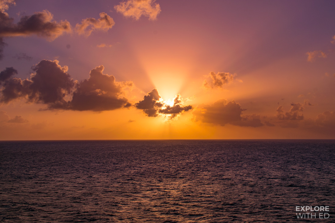 Sunset over the Caribbean Sea onboard a Viking Cruise