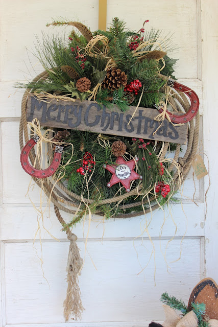 Lariat rope lasso Christmas wreath