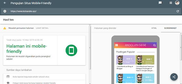 Check Responsive Template Blog Dengan Pengujian Situs Mobile Friendly (Google)