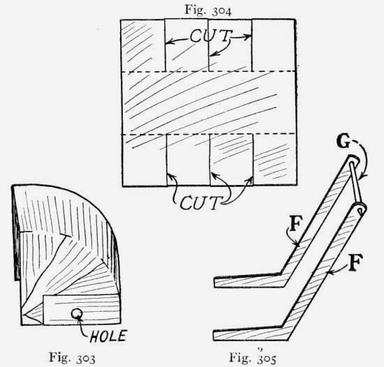 Fig. 303.—Baby Carriage Hood - antique baby carriage. Fig. 304.—Diagram of Hood - antique baby carriage. Fig. 305.—Carriage Handles - antique baby carriage.